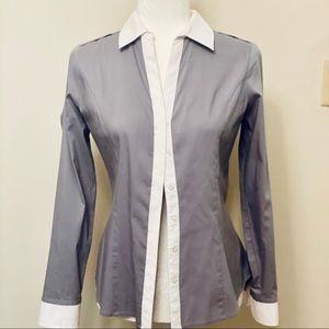 EXPRESS Essential Shirt- Gray/White- Size Small